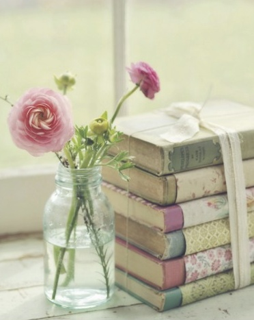 vintage book/vase centerpiece
