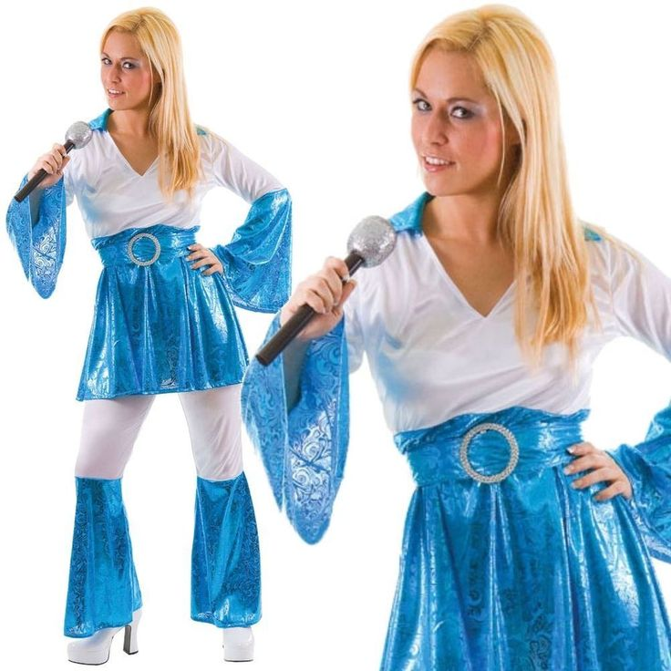 Adult Ladies 70s Mamma Mia Waterloo ABBA Fancy Dress Costume Retro Flares Outfit #WickedCostumes
