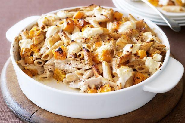 Pumpkin & chicken pasta bake