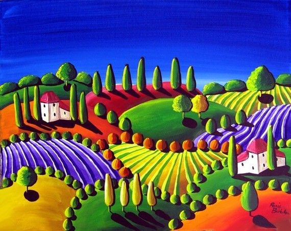 Colorful Whimsical Tuscan Folk Art Landscape by reniebritenbucher