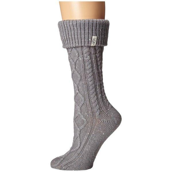 UGG Shaye Tall Rain Boot Socks (Seal) Women's Knee High Socks ($39) ❤ liked on Polyvore featuring intimates, hosiery, socks, ugg, ribbed knee high socks, cable knee high socks, cuff socks and tall hosiery
