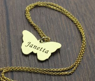 Bitterly name necklace - gold plated and engraved with any name