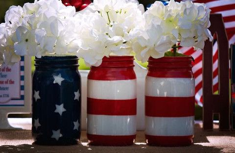 American Flag Mason Jar Set - Veterans day- patriotic centerpieces - Alwaystheoccasion