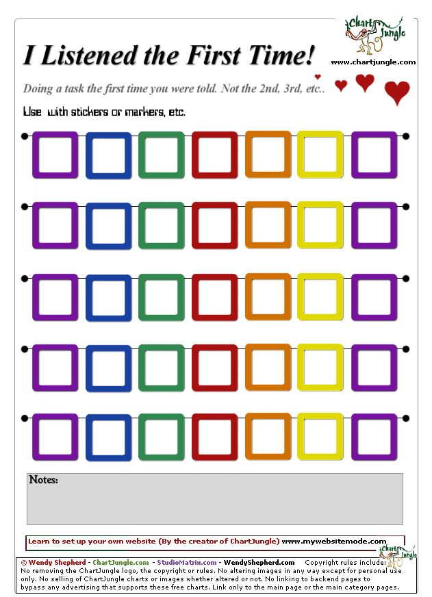 Free Printable Reward Charts For Behavior: listened the first time chart | Aiden Stuff | Pinterest | First ,Chart
