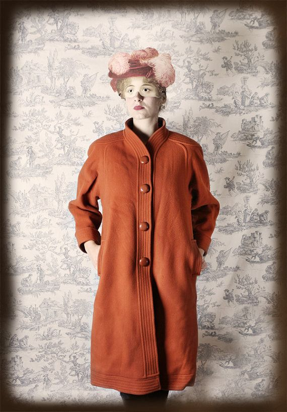 vintage brown-camel long coat retro 60's 70's french brand