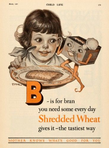 B is for bran  305 x 225mm  #vintage #alphabet #advertisement Original magazine page from Child Life, 1926.