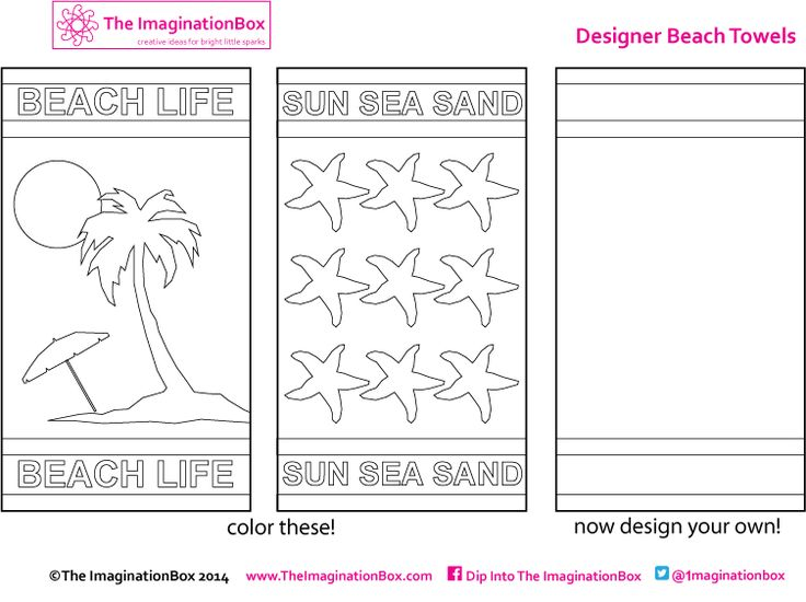 Beach Towel Free Colouring Page