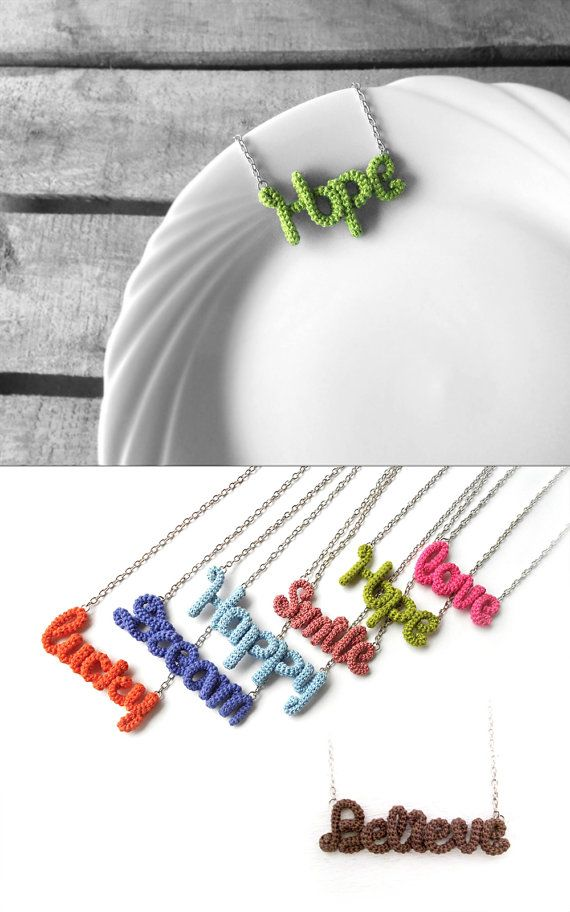 Hope Necklace Crochet Word Pendant Green by vanessahandmade