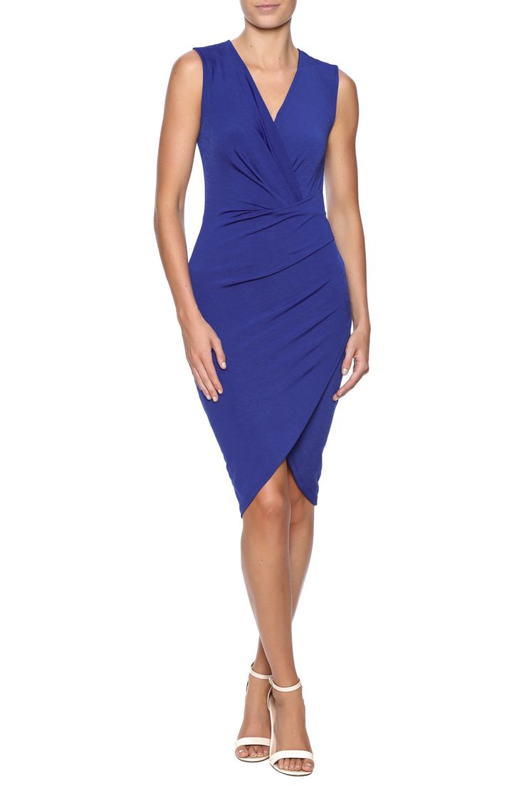 Stretch bodycon dress with a wrap front, side ruching, v-neckline and a knot front detail.   Knot Front Dress by Cameo . Clothing - Dresses - Knee New York City