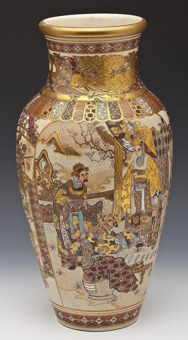 """A large and finely decorated Japanese Satsuma vase. Baluster form decorated with enameled scenes of women and children and royalty with attendants between panels of flowers on a diapered ground. Unmarked. Meiji period. MEASUREMENTS: 18"""" high"""