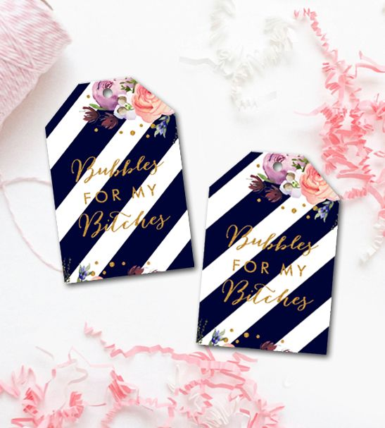 Bachelorette Party Favor Tags Navy Bubbles For My Bitches     Printable Instant Download