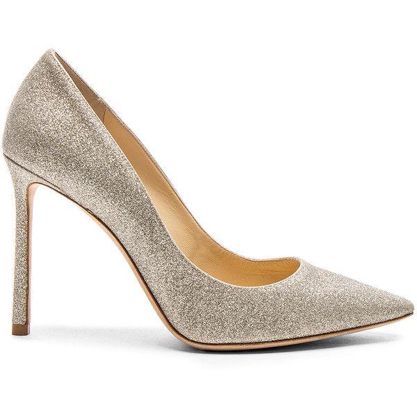 Jimmy Choo Romy 100 Dusty Glitter Heels ($630) ❤ liked on Polyvore featuring shoes, pumps, heels, glitter heel shoes, high heel shoes, glitter high heel shoes, high heel pumps and glitter high heel pumps