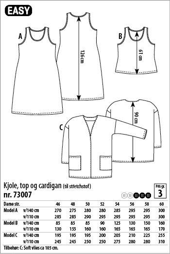 Kjole, top og cardigan - 73007 - Stof & Stil