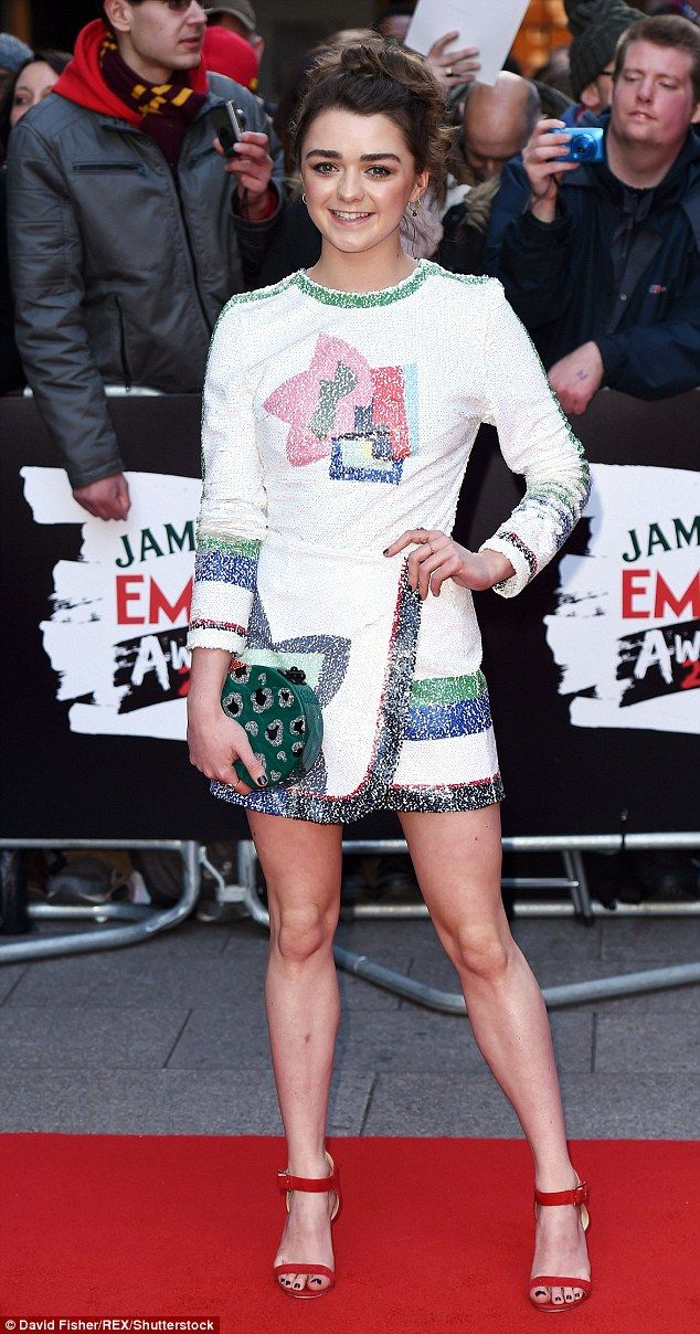 Transformation: Maisie Williamsstunned in a quirky embellished minidress and red heels at...