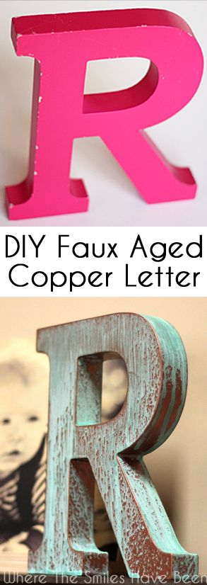 Learn how to make a DIY Faux Copper Letter Aged with Blue Patina! Who knew it is so easy to make your own aged metal letter, without having a metal letter?!