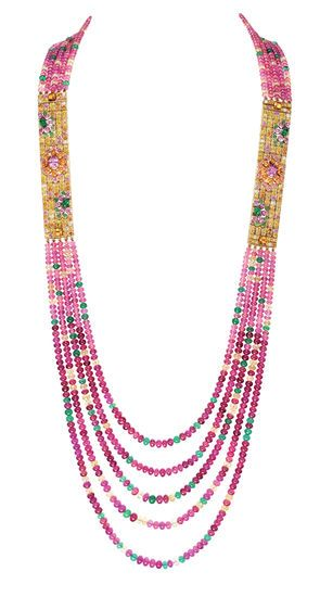 Necklace, Set With Rubellite And Tourmaline Beads, Yellow Sapphires, Emeralds And Spessartite Garnets, Paved With Rubies, Emeralds, Yellow And Pink Sapphires And Diamonds, On Yellow Gold - Isola Bella