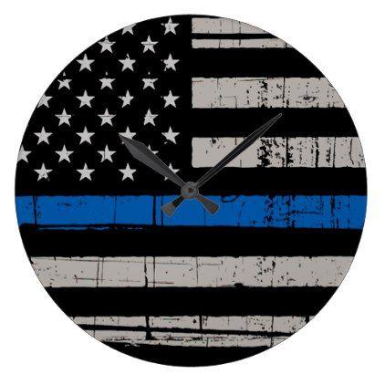 Thin Blue Line - Police Officer - K9 Police Dog Large Clock - office decor custom cyo diy creative