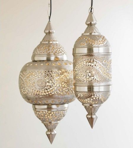 Ahhh! My love for lanterns and pendant lighting together!!    VivaTerra Moroccan Hanging Lamp mediterranean pendant lighting (http://www.vivaterra.com/silver-moroccan-hanging-lamp.html)