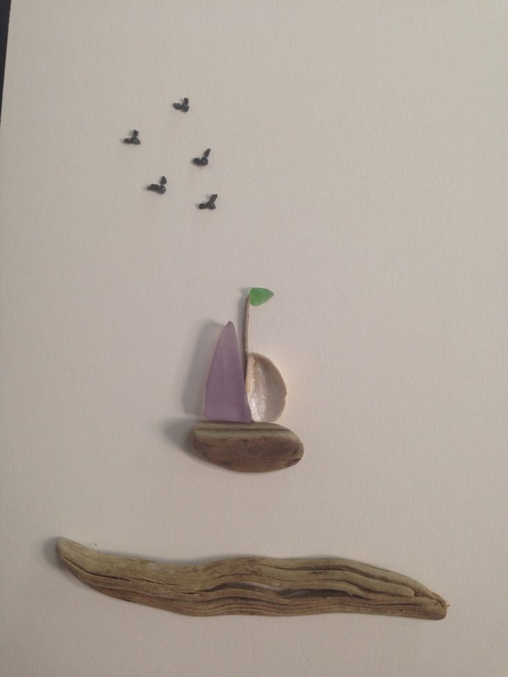 Pebble art sea glass sail boat and driftwood by gülen