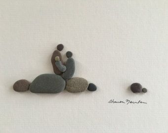 Kite flying pebble art with sea glass kites by sharon by PebbleArt