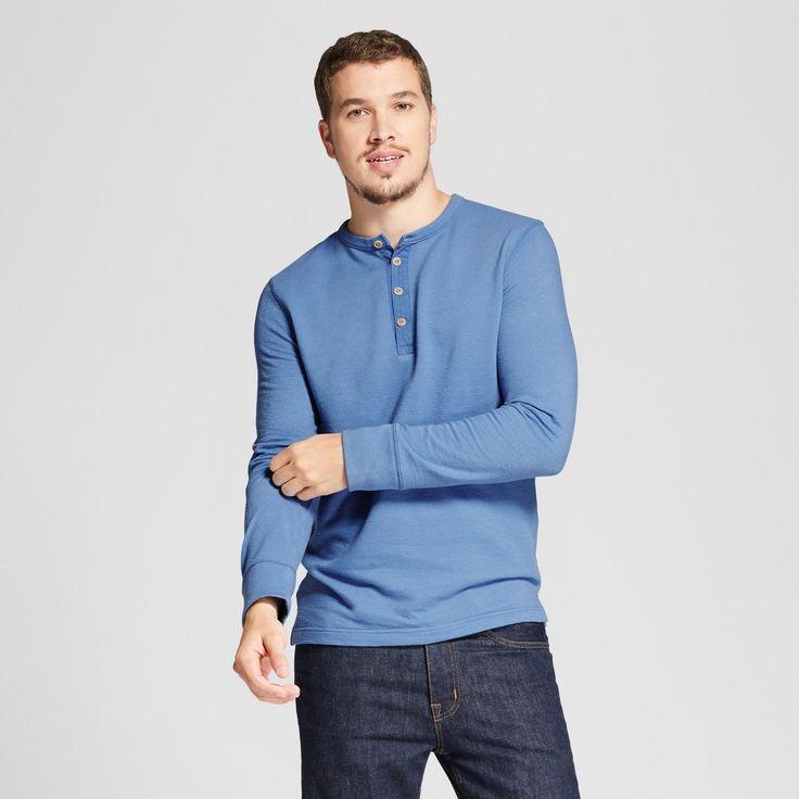 Men's Standard Fit Long Sleeve Micro-Waffle Henley Shirts - Goodfellow & Co Blue Xxl