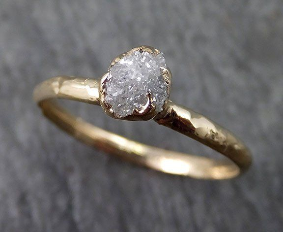 Raw Dainty Diamond Engagement Ring Rough Uncut Diamond Solitaire Recycled 14k gold Conflict Free Diamond Wedding Promise