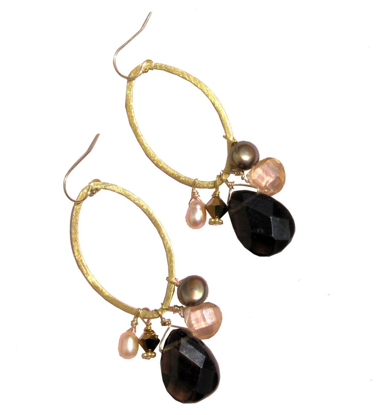 "Tear Drop Stone Earrings    Code: AD11  Price: $68.00      Length: 3""; Smoky Quartz, Champagne Cubic Zirconia, Fresh Water Pearl, Swarovski Crystal: Stone Earrings, Fresh Water Pearls, Swarovski Crystals, Drop Stone, Tear Drop"