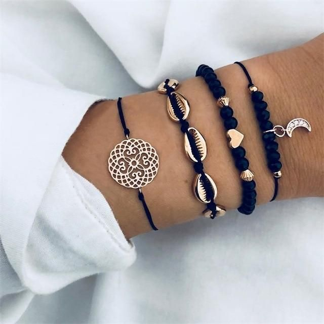 Bracelets set of three minimalistic pentagrams charms white gold plated gift birthday beach summer