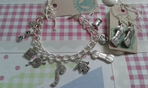 Silver Plated Charm Bracelet with matching Wool earrings made by Me! Teaside of Broadstairs  This would make a lovely birthday gift for any