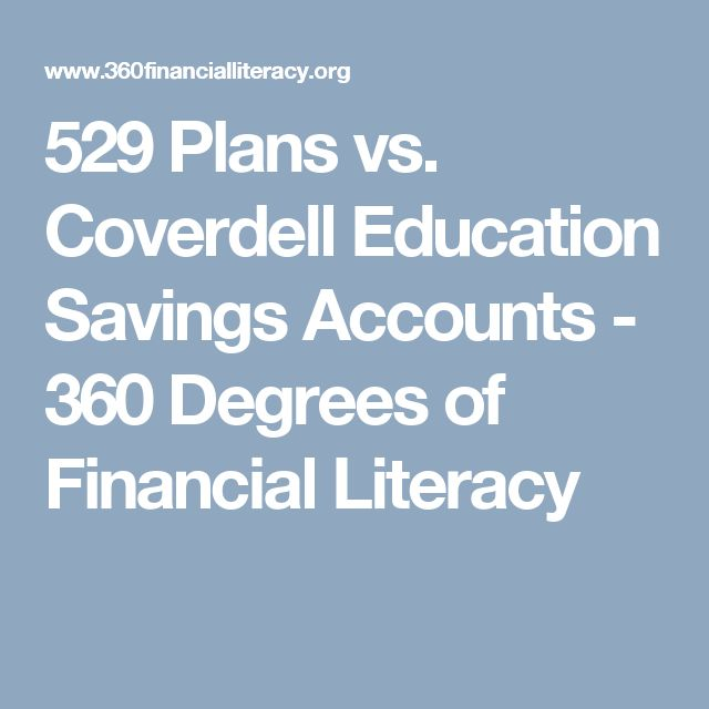 529 Plans vs. Coverdell Education Savings Accounts - 360 Degrees of Financial Literacy