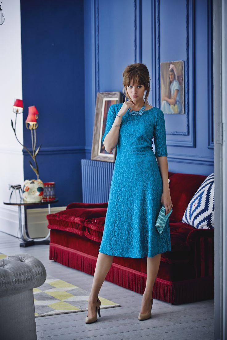 TEAL TREND - Lace Skater Dress, £85, Long Stall Sally http://www.longtallsally.com/