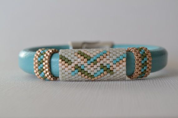 Licorice Leather Bangle Leather Bangle Beaded by corporateschmad, $40.00