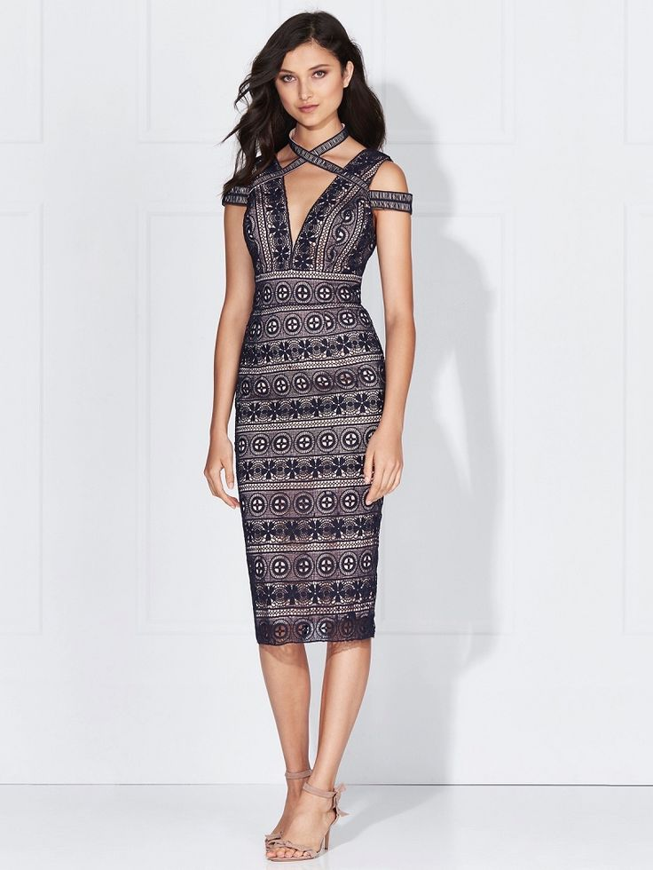 Love Honor - Willow Lace Dress French Navy