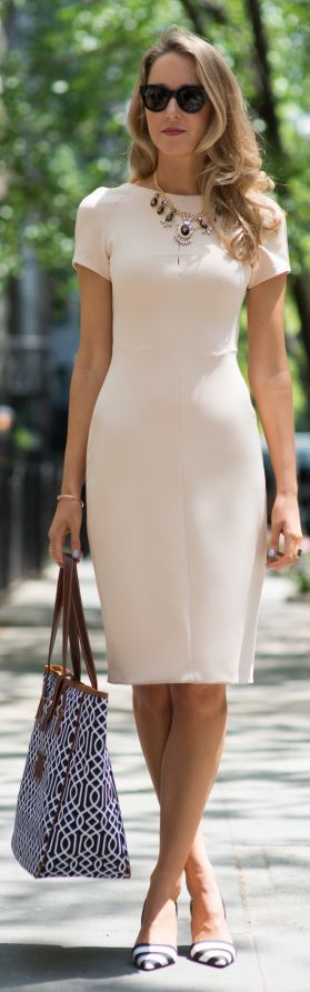 Zara White Short Sleeve Tailored Bodycon Dress by The Classy Cubicle