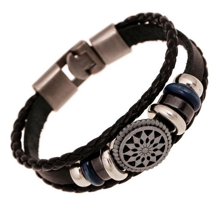 Handgemaakte gevlochten charm Lederen armband mannen fashion vintage gegraveerde armbanden armbanden koreaanse sieraden
