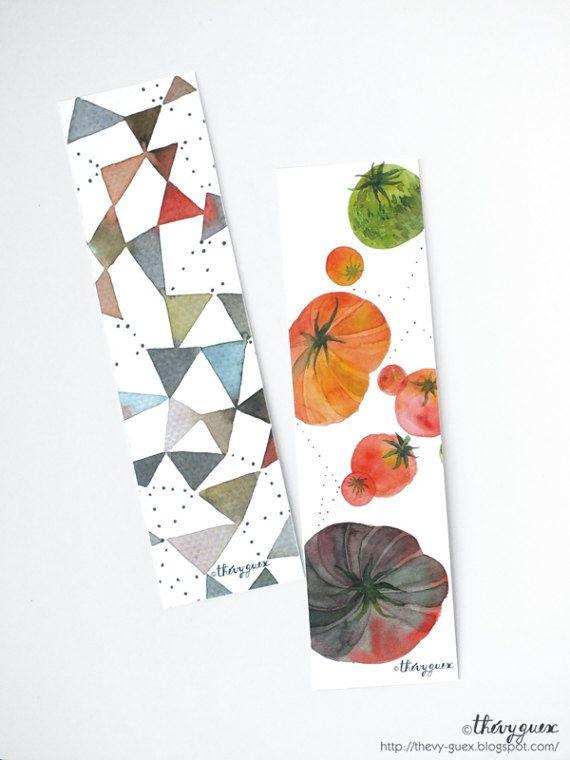 Segnalibri di carta da acquerello geometrica di di thevysherbarium