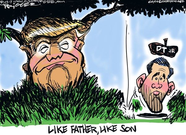 Milt Priggee - www.miltpriggee.com - Junior - English - Donald Trump, jr junior, Donald Trump junior, president, father, son, Emails, lies, liar, Russia,  Hillary, politics, government, truth