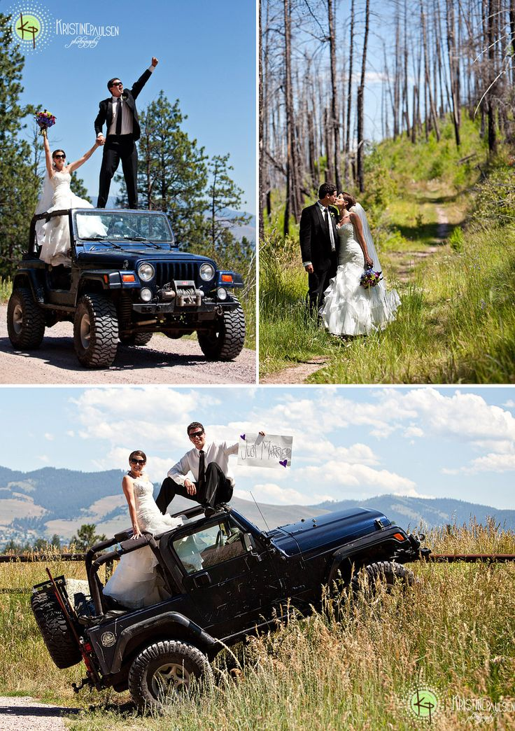 Great wedding portrait location shot with their Jeep 4x4!