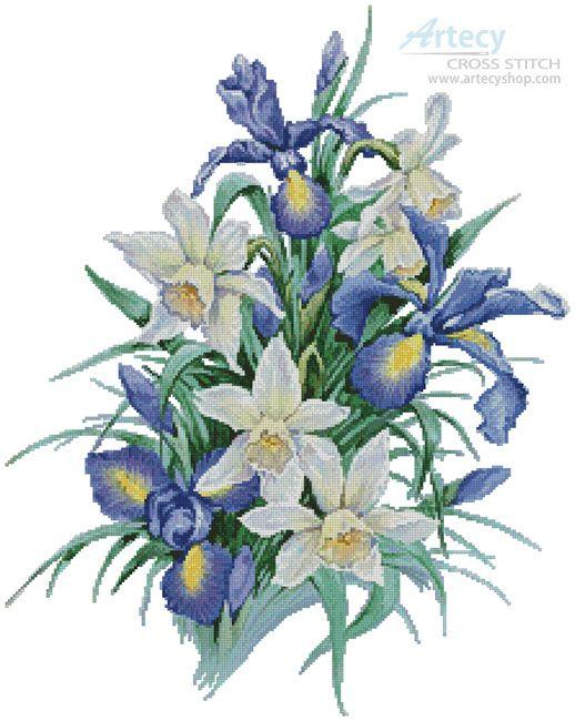 Artecy Cross Stitch. Irises Painting Cross Stitch Pattern to print online.