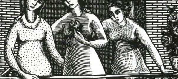 «Κορίτσια στο μπαλκόνι» (ξυλογραφία)