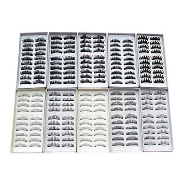 100PCS 10 Mixed Styles Natural Handmade Black Lengthening Thicker Fiber False Eyelashes - USD $ 12.99
