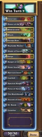 Fr0zen Druid Proof:http://prntscr.com/5gf8cg List:  Hey guys its Fr0zen here and I just hit rank 1 NA last night with a non-hunter midrange token druid deck. Over the past 3 days the deck went 124-37 over the past 3 days. The list contains Core: 2x Innervates 2x Wild Growths 2x Wraths 1x BGH 2x ...