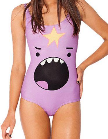 Adventure Time Lumpy Space Princess Printed Womens Monokini Swimsuit