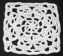Made with aran weight yarn and a 5.50mm needle the square measures about 8 inches….a spiderweb circle design with creepy skulls is transformed into a square. Pictures of every round. American crochet terminology