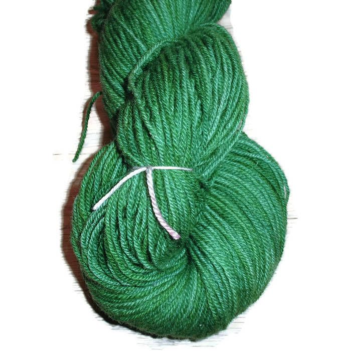 Green Handdyed Corriedale Wool DK Weight Yarn, 3-ply, For Knitting, Crochet and Felting, Grass Green Hand Dyed Wool Yarn, Made in Denmark