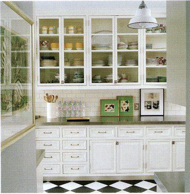 kate spadeButler Pantries, Floors, Subway Tile, Glasses Cabinets, Glasses Doors, Kitchens Cabinets, White Cabinets, Kate Spade, White Kitchens