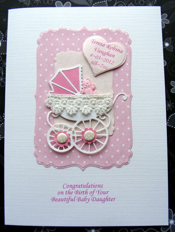 PERSONALISED New BABY Card HANDMADE Pram with lace Congratulations Birth. Christening or Baptism Gingham or dots. £3.99, via Etsy.