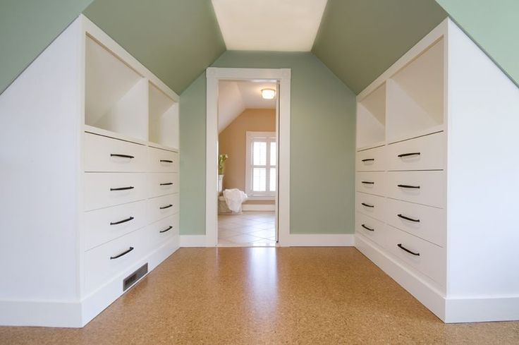 Renovated attic. Idea for built ins and separation of bedroom from bathroom.