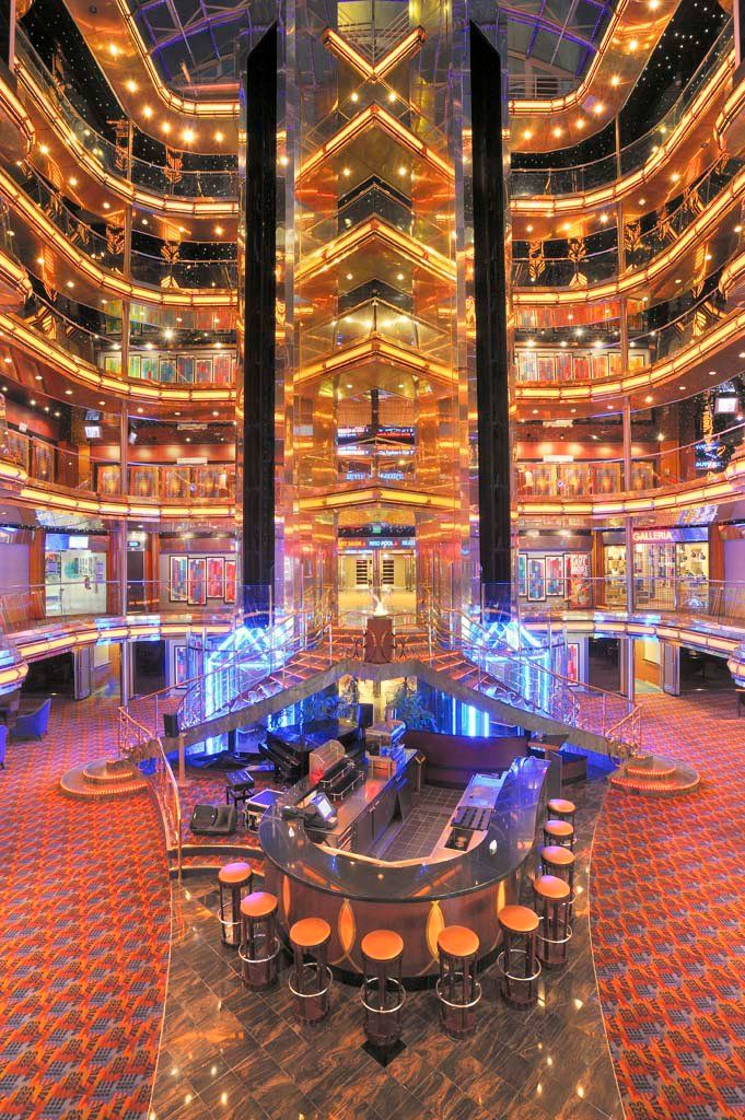 The lobby of the Carnival Ecstasy. We've got beautiful views...inside AND out.