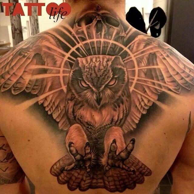 Skull Back Piece: Skull Owl Tattoo Back Piece